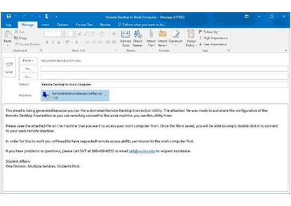 Auto Generated Email Screen