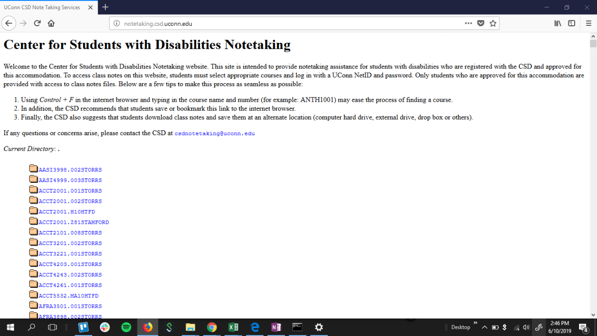 screenshot of old notetaking software home page